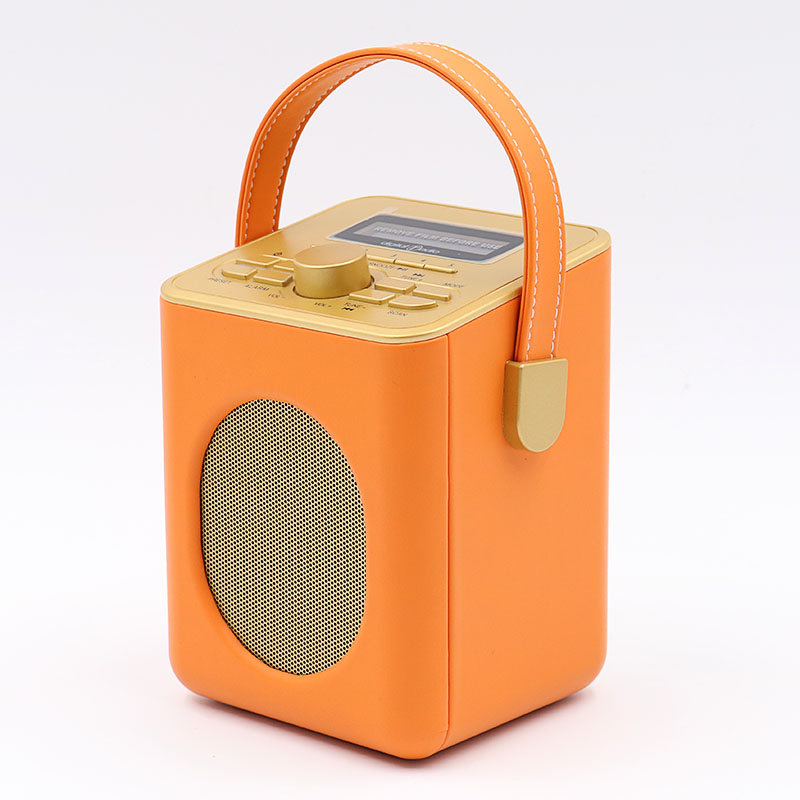 Portable Retro PU Leather Style FM DAB Radio with Alarm Clock